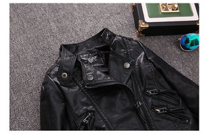 Image 5 - 2 14Y HOT selling new Pu leather jackets for baby girl and boys loose good quality children coats kids spring sutumn tops ws410