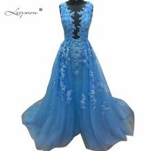 Leeymon Blue Lace Applique Evening Dress Long 2017 Sexy A-line Sleeveless Formal Dresses Vestido De Festa Longo RE37