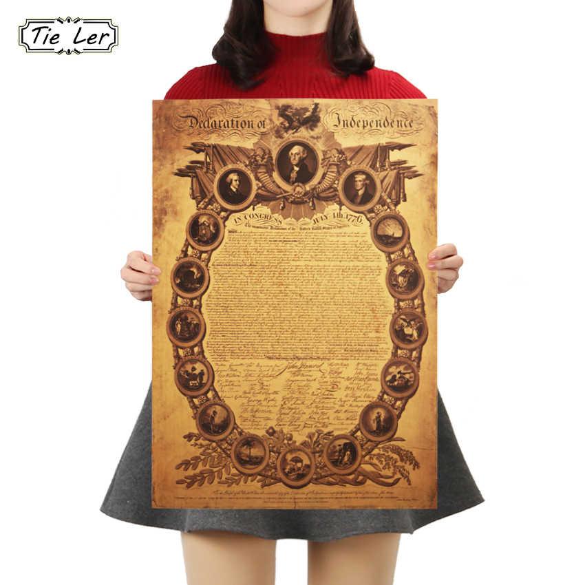 TIE LER deklaracja niepodległości stanów zjednoczonych plakat papier pakowy vintage znaków plakat 50.5X35cm