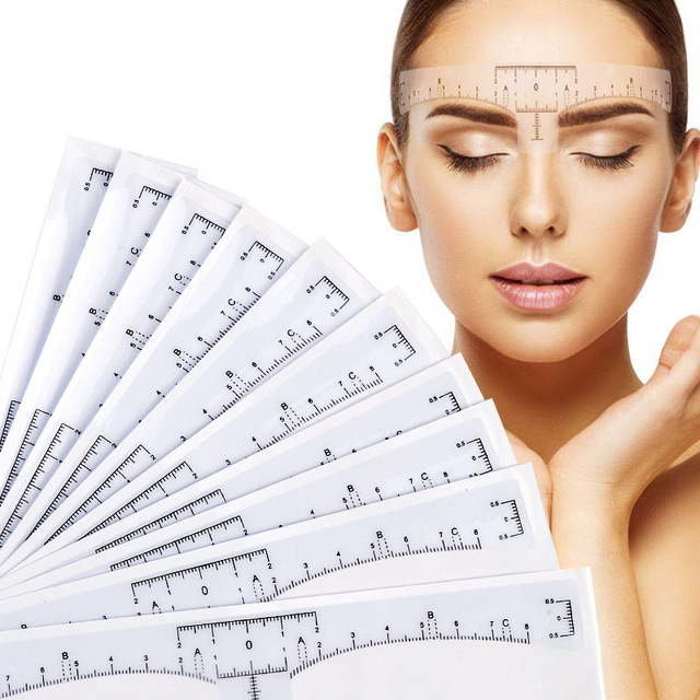 High Quality 10 Pcs Accurate Permanent Makeup Eyebrow Shaping Tools Disposable Eyebrow Measurement Ruler Stickerl
