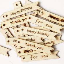 20 pçs etiquetas de madeira obrigado feliz aniversário carta impressão pendurado tag presente artesanal artesanato pingente tag festa de casamento decoração