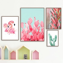 Pink Cactus Flamingo Flower Plant Wall Art Canvas Painting Nordic Posters And Prints Wall Pictures For Living Room Home Decor