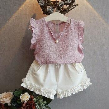 Girls Clothing Sets 2017 Summer Fashion Casual Pearl Sleeveless Chiffon Blouse + Shorts Suits Kids Clothes conjuntos casuales para niñas