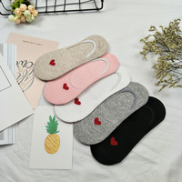 5 Pairs Candy Color Non Slip Silicone Women Wool Invisible Sock Slippers Cotton Shallow Mouth Heart