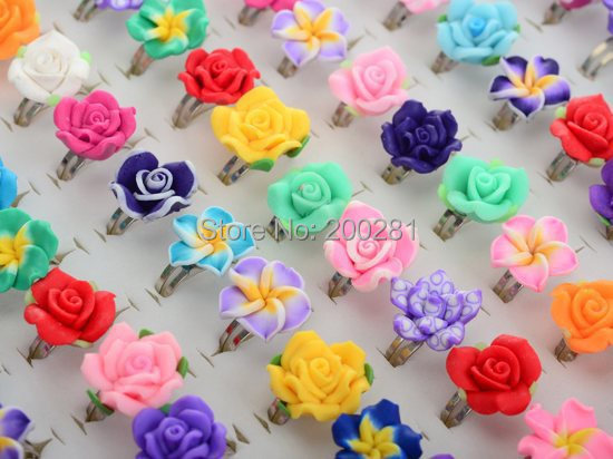 30Pcs /Lots Wholesale Mixed Colors Flower Polymer Clay Finger Rings For Kids Flower Adjustable Wedding Rings For Children Gift