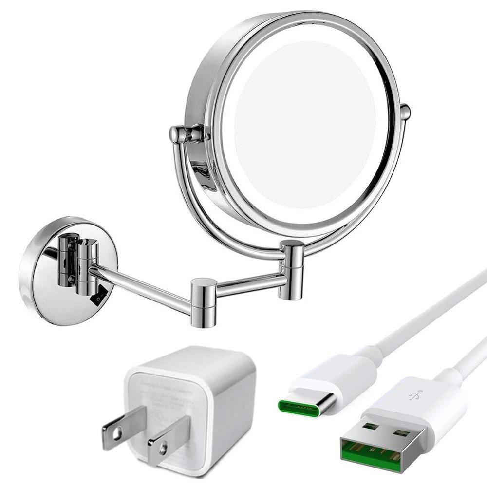 GURUN LED Lighted Wall Mount bath Vanity Makeup Mirror with 10X Magnification,Cordless USB Rechargeable, Chrome PolishedGURUN LED Lighted Wall Mount bath Vanity Makeup Mirror with 10X Magnification,Cordless USB Rechargeable, Chrome Polished