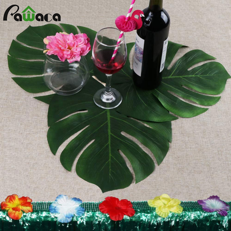 12pcs Artificial Leaf Tropical Palm Leaves Flower Simulation Leaf for Hawaiian Theme Party Wedding Decorations Home Garden Decor