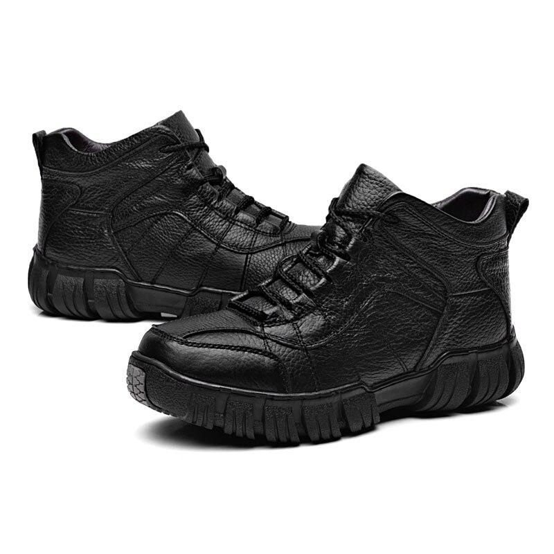 Dos Preto Masculino Couro De Sapatos Quentes Inverno Homens Para marrom Botas Tornozelo Genuíno Neve Vanmie Pele Do 2017 Casual ZBXqgTT