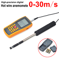 High precision handheld antenna Hot Wire Digital Anemometer 0~30m/s Air Temperature Meter Wind Speed Flow Tester with USB