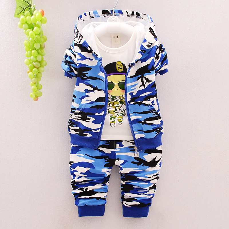 Boys Suits Spring And Autumn New Children 0-4 Years Old Cotton Camouflage Three Piece Set