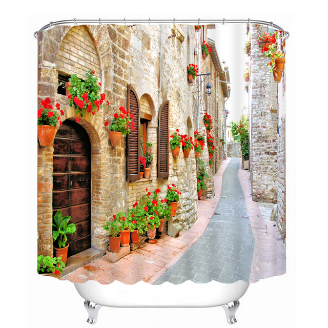 Retro Shower Curtains Classic Building Flower Street Pattern Waterproof Fabric Bathroom Washable Products