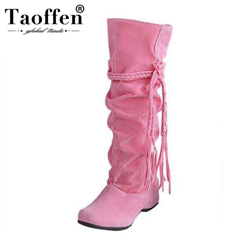5dacff01 Comprar TAOFFEN las mujeres Botas de cuña Botas cortas de mujer moda  invierno nieve caliente Botas calzado zapatos P16046 EUR talla 34 43 Online  Baratos