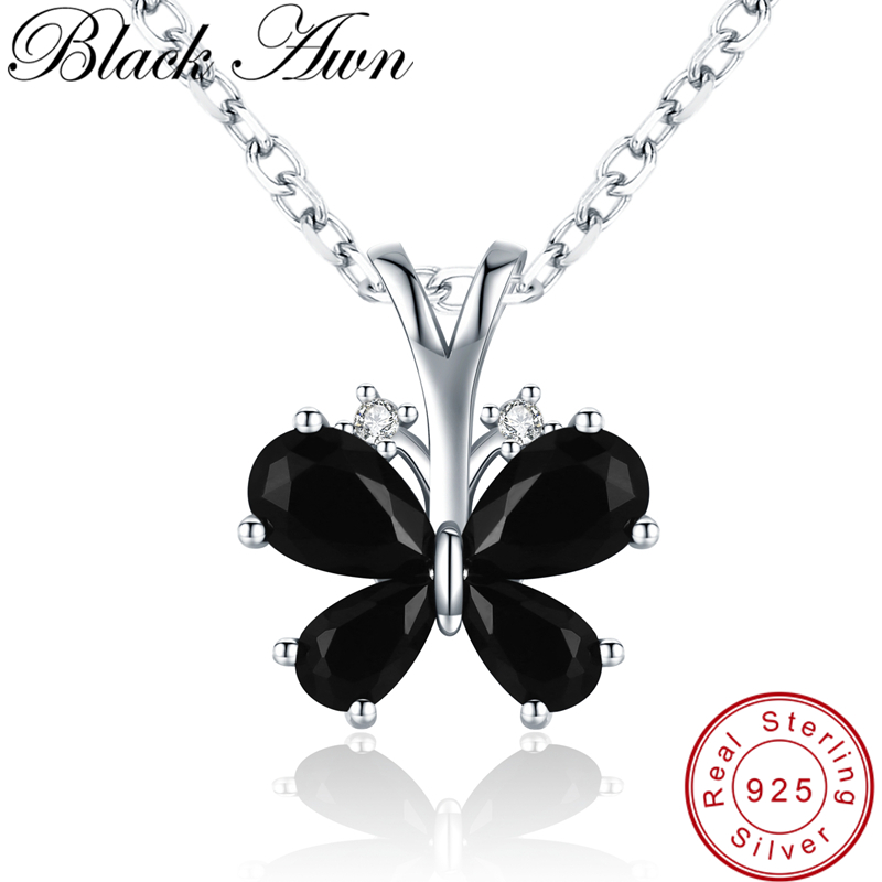 [BLACK AWN] 925 Sterling Silver Jewelry Life Butterfly Necklace For Women Female Bijoux Necklaces Pendants Girl Gift K016