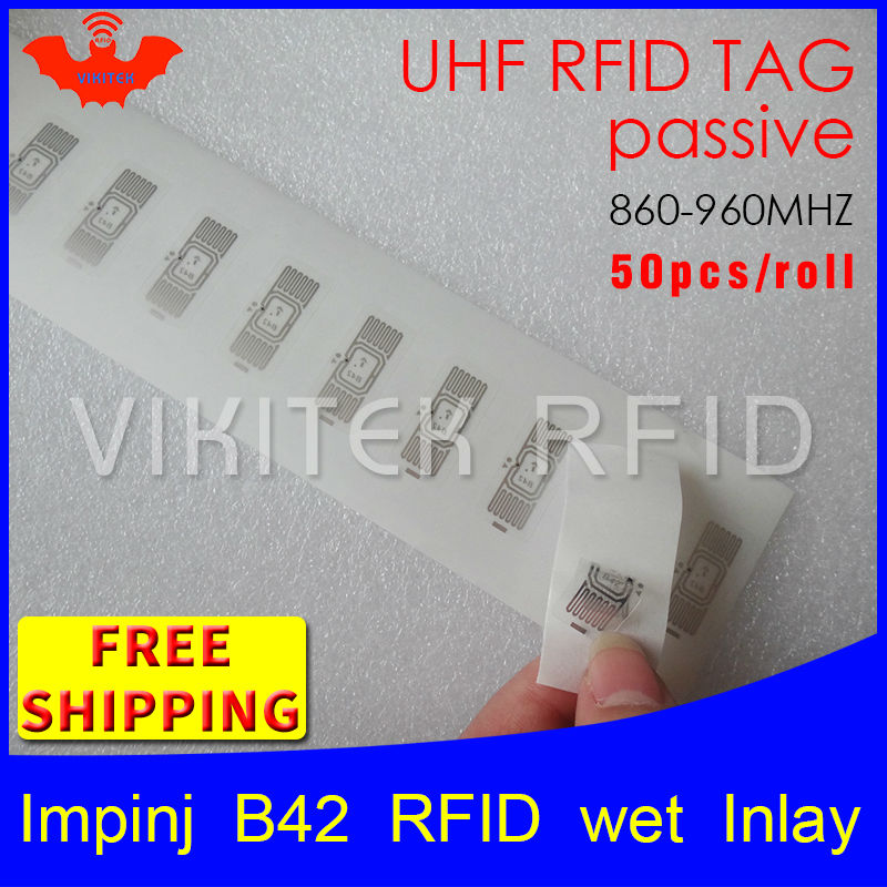 RFID tag UHF sticker Impinj B42 wet inlay 915mhz868mhz 860-960MHZ Higgs3 EPC 6C 50pcs free shipping adhesive passive RFID label 915mhz long range passive uhf rfid tag inlay label for warehouse management