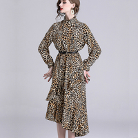 Sexy Women party Long Dress Leopard Print Long Sleeve Club Dress Boho Summer Beach Lady Casual Dress Vestidos Mujer robe longue