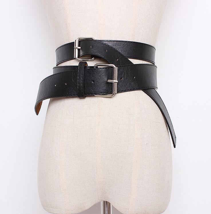 Women's Runway Fashion Pu Leather Cummerbunds Female Dress Corsets Waistband Belts Decoration Wide Belt R1649