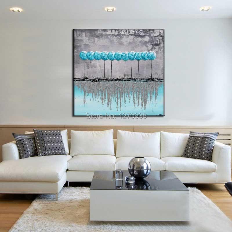 Bleu lac arbres vie organiser ombre croissante dans l'eau gris ciel paysage beau décor à la main peinture à l'huile sur toile - 2