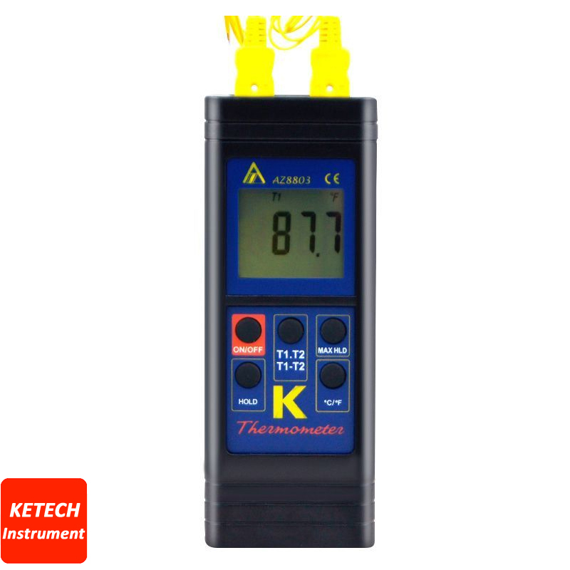 Handheld Digital Dual K Type Thermocouple Thermometer AZ8803 az8803 digital thermocouple thermometer with temperature range 50 1300 degree