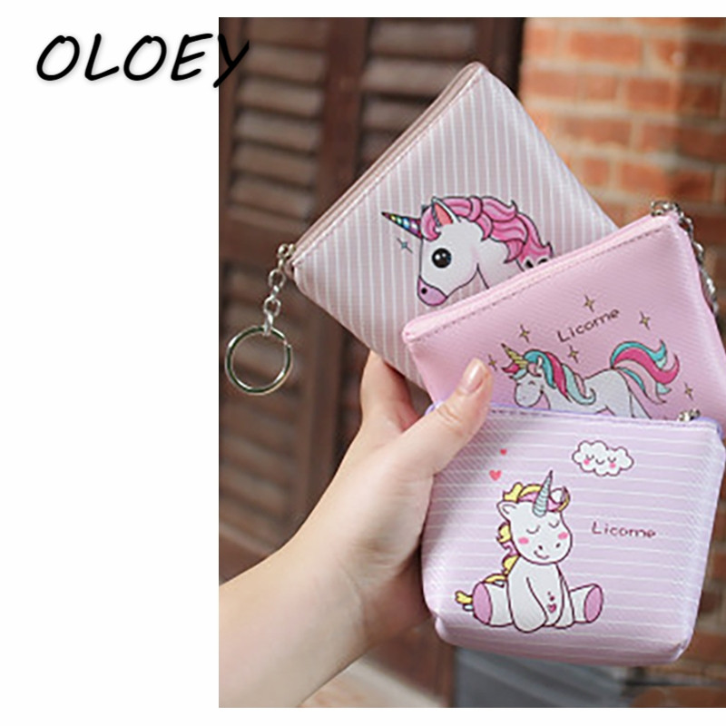 Women Cute Unicorn Coins Bags Portable Money Pouch Kids PU Leather Change Purse Cute Cartoon Key Packs Mini Wallet Clutch# детский шампунь гель для волос и тела helan linea bimbi