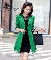 WomensDate 2016 Nova Moda Outono Inverno trench coat Rendas Cós Fino Casaco de Trincheira das Mulheres Trincheira Casaco Trench Coat Verde