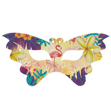 12pcs Flamingo theme paper Masks with strings for kids Eye Mask Birthday Party Decorations Supply