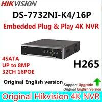 Hikvision Englische Originalversion DS-7732NI-K4/16 P Embedded 4 Karat NVR 4HDD Unterstützung H.265 8MP 16POE 32CH Netz DHL freies Verschiffen
