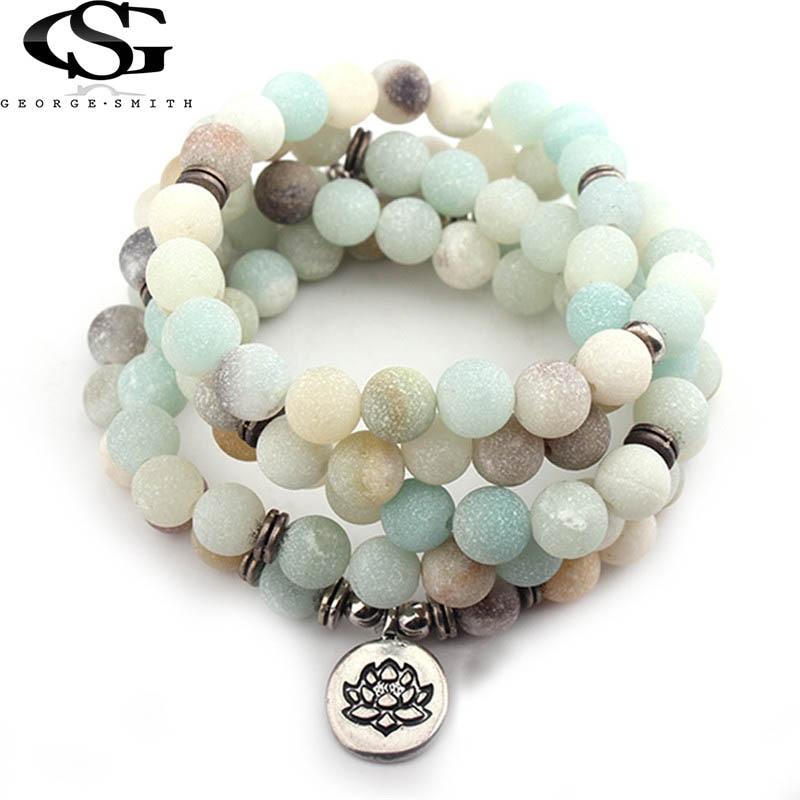GS Fashion Women Bracelet Matte Frosted Amazonite Beads with Lotus Buddha Charm Yoga Bracelets for Women Ladies Dropshipping G5