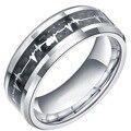 8 мм 100% Титан Металл Мужчины Кольца Сердце Кольцо Женщины Девушки Альянс Обручальное кольцо с Углеродного Волокна Инкрустация Comfort Fit