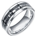 8mm 100% Titanium Metal Men Rings Heartbeat Ring Women Girls Alliance Wedding Band with Carbon Fiber Inlay Comfort Fit