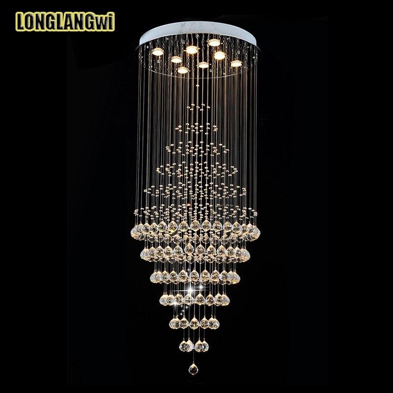 Neue Moderne Led Kristalldeckenleuchten Runde Decke Wohnzimmer Lampe Kristall Lange Atmosphrische Villa Duplex Treppe