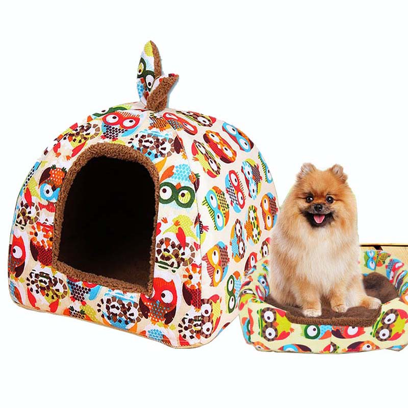 KIMHOME PET Cute Dog Beds For Small Dogs All Seasons Cotton Canvas Warm Dog Bed Waterproof Folding Dual-use Dog House Pet <font><b>Tent</b></font>