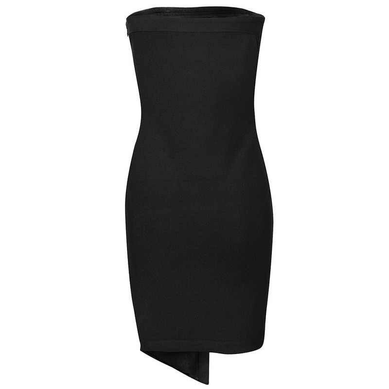 Leger Babe Сексуальное мини без бретелек Черное Бандажное платье для подиума вечерние Клубные платья с разрезом на пуговицах асимметричные платья с вырезами