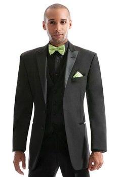 New Style Groom Tuxedo Groomsmen Peak Satin Lapel Wedding/Dinner/Evening Suits Best Man Bridegroom (Jacket+Pants+Tie+Vest) B61
