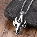 Men Transformers Decepticon Necklaces Stainless Steel Tribal Sanskrit Flame Biker Chain Pendant Necklace Jewelry Silver 24""