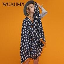 Wuaumx Fashion Design Scarf For Women Pentagram Print Hijab Scarfs Satin Scarves Female Bandana Ladies Shawls Wraps Thin Foulard