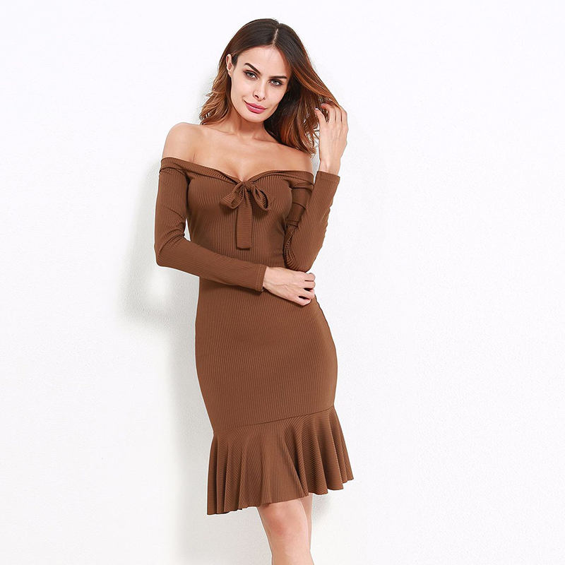 Women Party Dress Long Sleeve Off Shoulder Sexy Slash Neck Slim Bodycon Knitted Sweater Knee-Length Dresses WS4476R