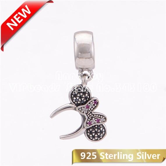 European Silver CZ Charm Beads Pendant Fit sterling Bracelet Necklace Chain