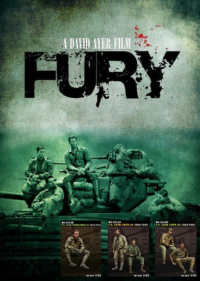 [Tuskmodel] 1 35 escala figuras de resina WW2 EUA FÚRIA da tripulação do tanque (5 figuras)