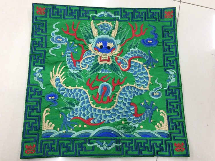Полная вышивка дракон китайская наволочка 42x42 см квадратная декоративная Рождественская наволочка для подушки высокого класса подушка для поддержки поясничного отдела - Цвет: Зеленый