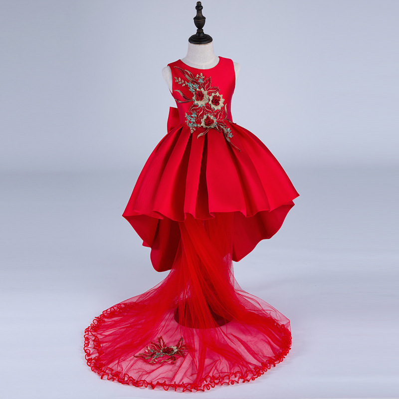 Chinese Style Spring Autumn Trail Girls Costumes Red Bowknot Children Princess Dress with Red Mesh Kids Clothing Silk 6 princess girls long sleeved children s evening autumn new europe and the united states dress kids clothing red silk