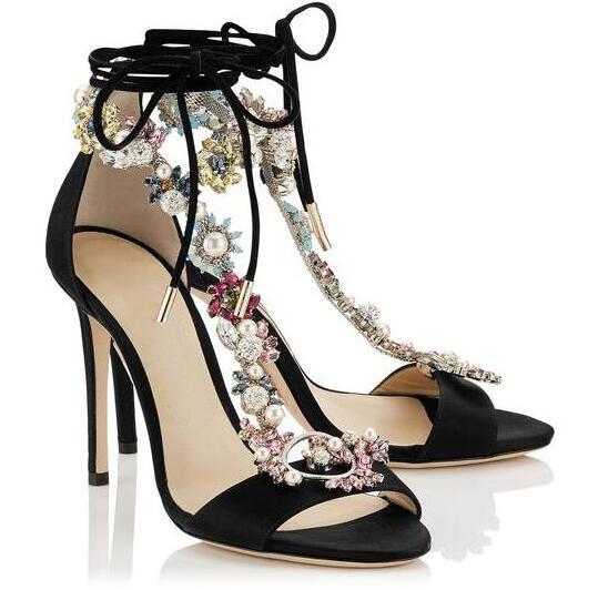 2017 New Fashion Crystal T-Straps Women Open Toe Sandals Elegant Black/Nude Satin Ladies Sexy High Heels Club Stiletto mccarthy t satin island