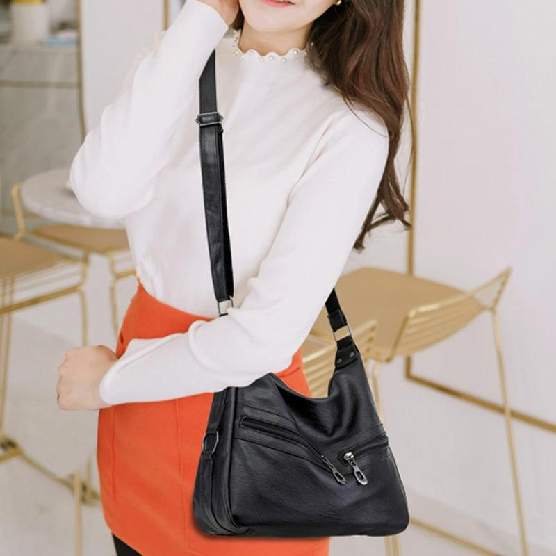 Women Hobos Handbag Brand Fashion Zipper PU Leather Shoulder Bag Elegant Office Ladies Messenger Bag Female Totes Shopping Bags 5
