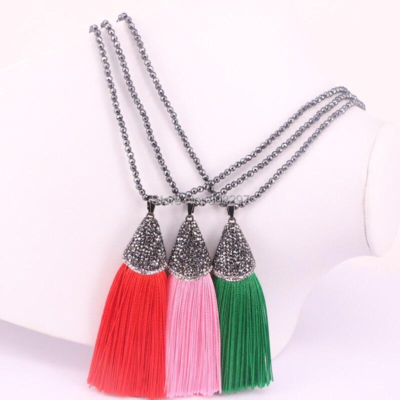 5 Strands Hematite Beads Tassel Necklace Crystal Rhinestone Paved Silk Tassel Pendant Bohemia Necklace