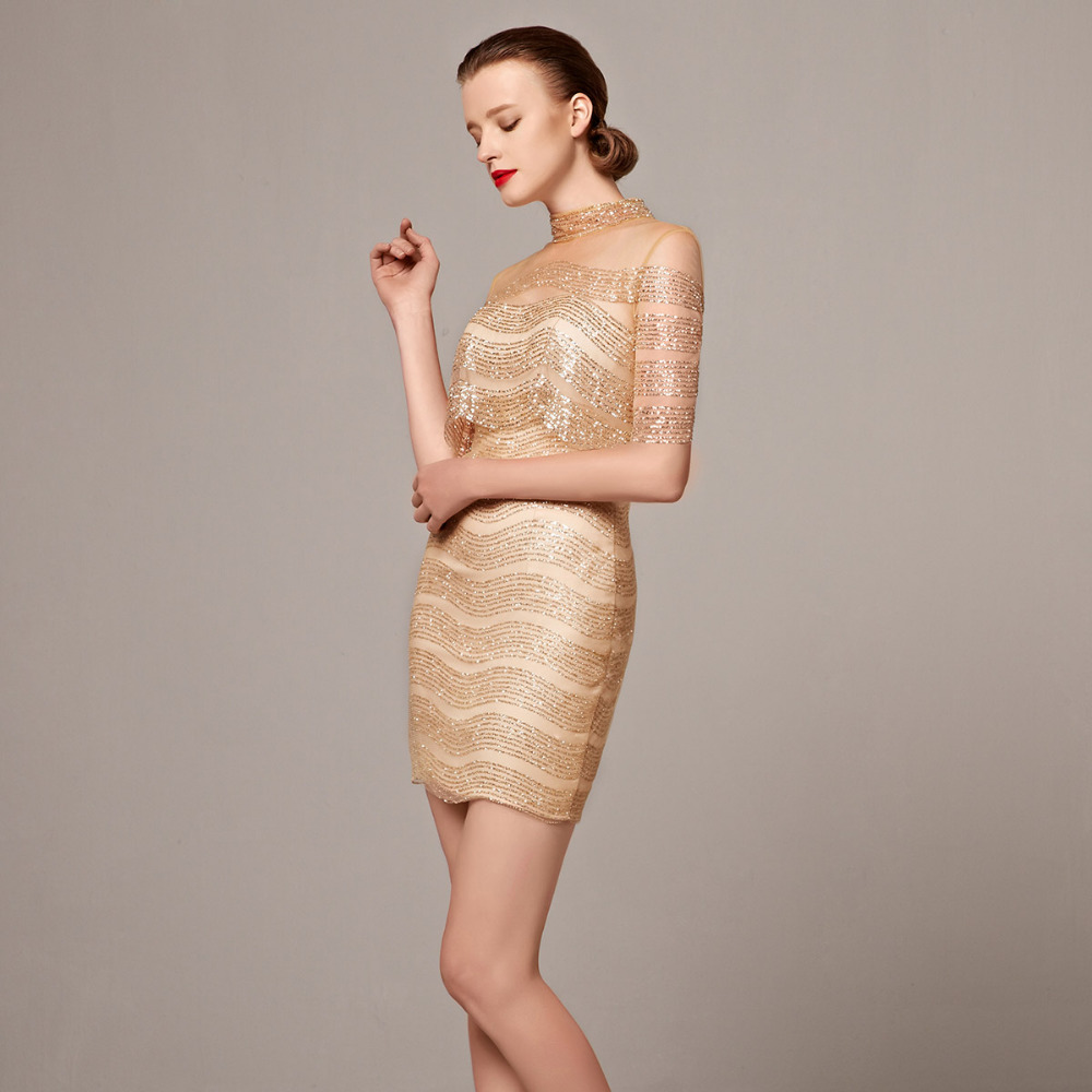 Coniefox 31209 Fascinating 2016 Sheath/Column Prom Dresses Gold ...