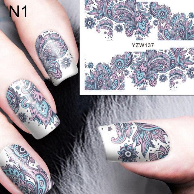 Fashion Wonderful 1 Sheet Blooming Nationality Flower Nail Art Water ...