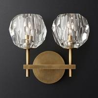 Современные k9 настенное бра Буль де кристалл один двойной бра Лофт из металла лампы Америки освещения Ресторан свет кафе