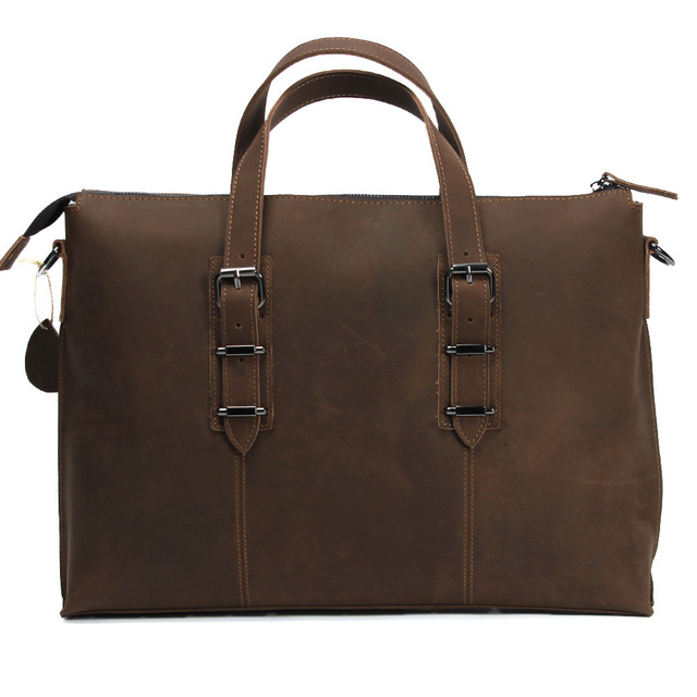 Men's Tote Bag Crazy Horse Leather 14 Inch Shoulder Messenger Bag Computer Casual Business Bag Vintage Brown
