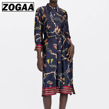 ZOGAA Women Chains Print Shirt Dress Striped with Belt Three Quarter Sleeve Side Split Casual Chic Loose Midi Dress flamingo print striped box pleated dress with belt
