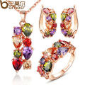 BAMOER High Quality Gold Plated Flower Jewelry Sets with Multicolor AAA Cubic Zircon for Women Wedding Necklace + Earrings+Ring