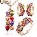 Bamoer высокое качество позолоченные цветочные украшения комплект с разноцветными AAA кубический циркон для женщин свадьбы ожерелье + серьги + кольцо
